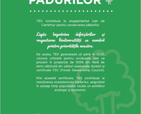 Carrefour continuă demersul pentru o modă sustenabilă și adaugă în 2021 un nou angajament TEX Responsabil de protejare a pădurilor