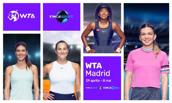 Digi Sport transmite în exclusivitate turneul WTA de la Madrid