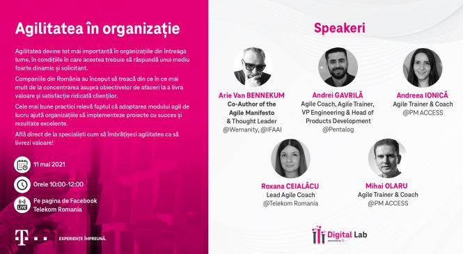 """Telekom Romania organizează conferința online """"Agilitatea în organizație – ce înseamnă și cum ne ajută să ne organizăm în noua realitate"""""""