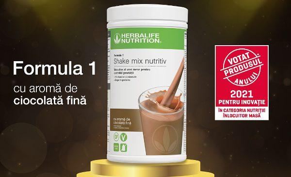 """Shake-ul înlocuitor de masă Herbalife Nutrition Formula 1 cu aromă de ciocolată fină a câștigat premiul """"Votat Produsul Anului 2021"""""""