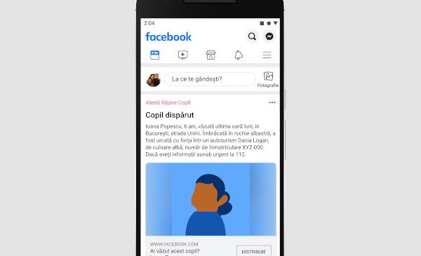 Facebook lansează un sistem de alertă pentru a ajuta la localizarea copiilor dispăruți din România