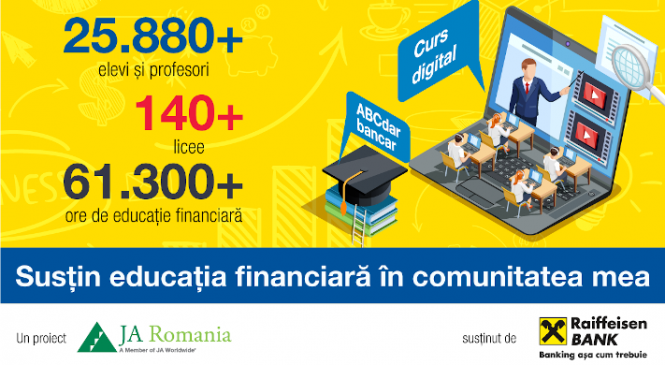 Peste 25.800 de liceeni și profesori din 81 de localități au urmat cursul de educație financiară ABCdar bancar, un program Junior Achievement România și Raiffeisen Bank