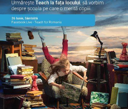 """""""Teach la fața locului. Dăm viață viselor copiilor"""" – un podcast live organizat de Teach for Romania despre școala pe care o merită și și-o doresc copiii"""