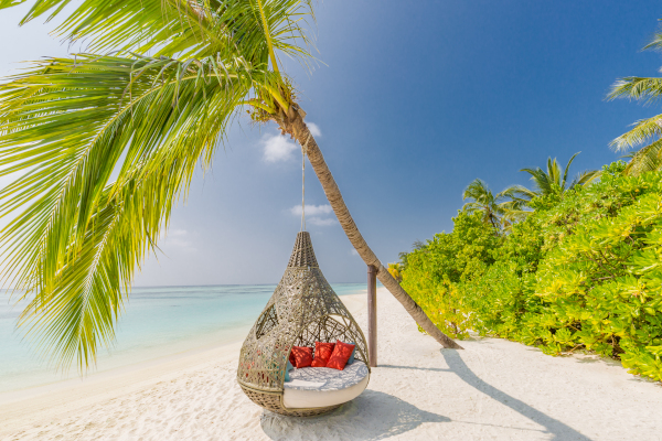 Beautiful tropical Maldives beach under cloudy sky with swings on coconut palm. Luxury vacation - Im