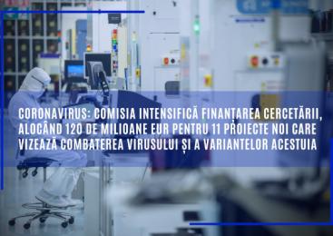 Coronavirus: Comisia intensifică finanțarea cercetării, alocând 120 de milioane EUR pentru 11 proiecte noi care vizează combaterea virusului și a variantelor acestuia