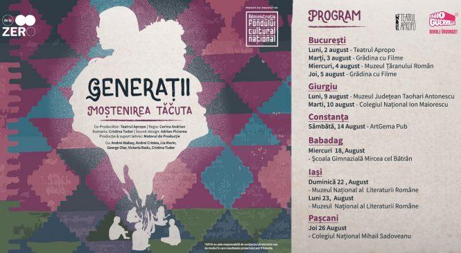 Invitație la o călătorie de descoperire a amintirilor noastre de familie prin teatru, storytelling și ateliere de lectură: Generații – Moștenirea tăcută