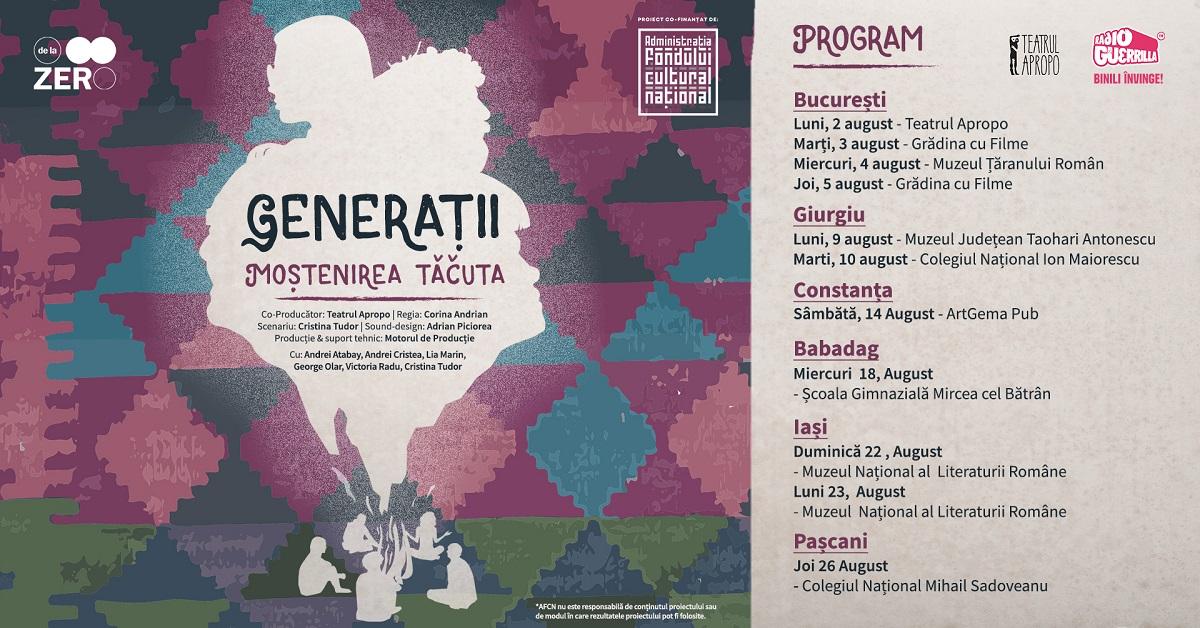 spectacol de teatru Generații – Moștenirea tăcută