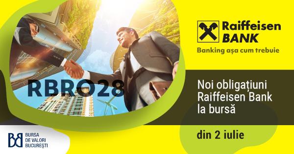 Cea mai mare emisiune de obligațiuni verzi Raiffeisen Bank, în valoare de peste 1,2 miliarde de lei, se listează azi la Bursa de Valori București