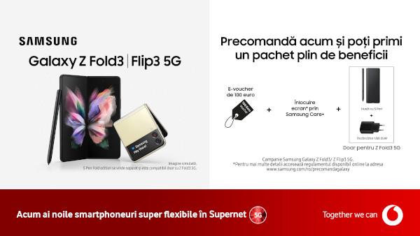 Noile Galaxy Z Fold3 5G și Galaxy Z Flip3 5G sunt disponibile pentru precomandă la Vodafone România