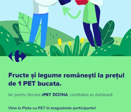 Plata cu PET sau cum pot clienții Carrefour Târgoviște să cumpere fructe și legume de la producători locali la prețul special de 1 PET bucata