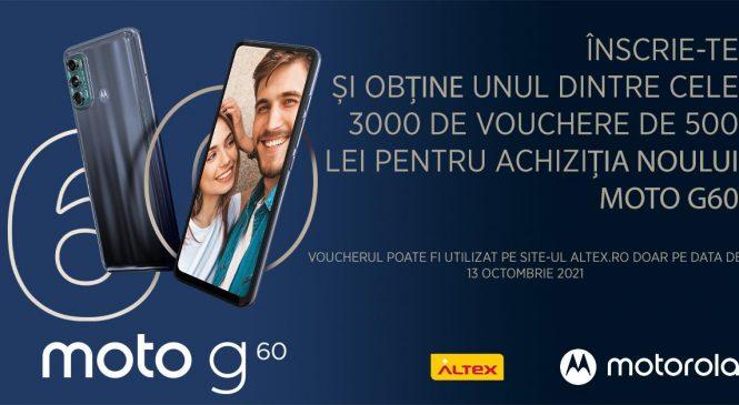 Motorola lansează moto g60 și împreună cu Altex anunță 3.000 de vouchere de 500 lei pentru achiziția telefonului