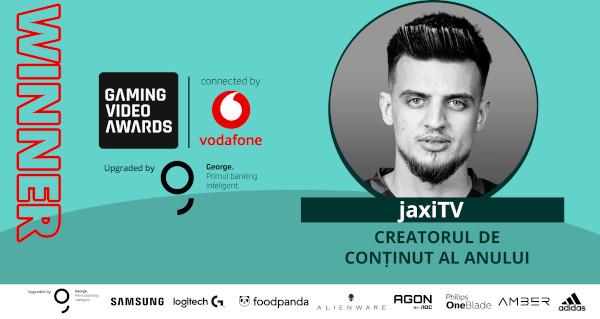 Jaxi câștigă, pentru a doua oară consecutiv, distincția de creatorul de conținut al anului la Gaming Video Awards