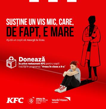 """KFC se alătură și anul acesta World Vision în susținerea  programului de strângere de fonduri """"Vreau în clasa a 9-a"""""""