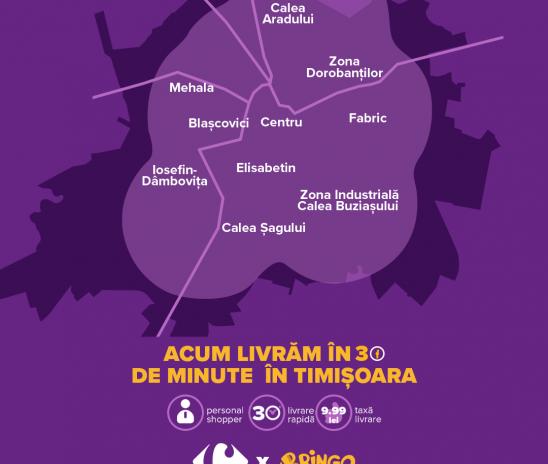 Cluj-Napoca și Timișoara, cele mai noi orașe incluse pe harta livrării rapide Carrefour prin Bringo