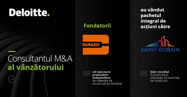 Echipa Deloitte Corporate Finance a asistat liderul în producția de materiale de construcții Duraziv în vânzarea către Saint-Gobain